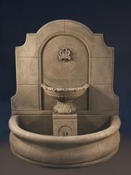 Provincial Cast Stone Wall Outdoor Fountain With Plain Basin
