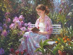 Woman Reading in a Garden Painting by Barbara Jaskiewicz | Saatchi Art