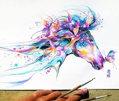 Horse watercolor by Jongkie Art