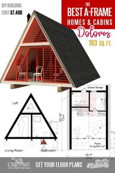 Affordable professional plans for A-frame house - Dolores (the most popular cabin model in Take a look at other inexpensive and easy-to-build A-frame house plans. Read about cons and pros of A-frame cabins and small homes. Building Costs, Building A Tiny House, Building A Shed, Build House, Tyni House, Tiny House Cabin, Tiny House Design, A Frame Cabin Plans, Build A Frame