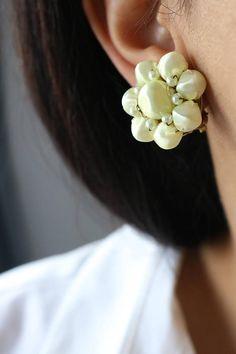 Beaded Cluster Earrings - Beaded Clip On Earrings - Vintag Japan Clip On Earrings