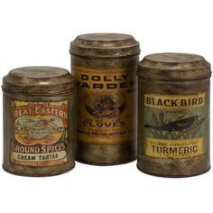 Addie Vintage Label Metal Canisters (Set of 3) - Overstock Shopping - Great Deals on Imax Accent Pieces