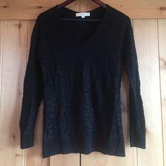 Ann Taylor Loft sweater Ann Taylor Loft v neck black sweater, it has a slight sparkle to the fabric and a faint cheetah print like new condition LOFT Sweaters V-Necks