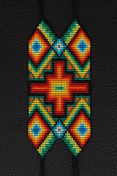 SALE off Chacana Cross Bracelet Sacred Fire by myilumina Beaded Braclets, Beaded Bracelet Patterns, Seed Bead Bracelets, Loom Bracelets, Seed Bead Patterns, Beading Patterns, Collar Indio, Cross Stitch Geometric, Postage Stamp Quilt