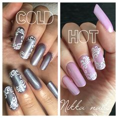 Chameleon nails, ping nails, gray nails, ornaments, winter nails