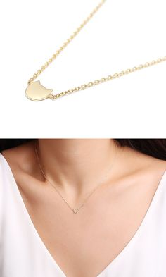 Petit chat collier/sterling argent/or vermeil collier-simple