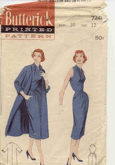 "Size 12 (bust 30"")  © 1957  pattern has been cut with pinking shears"