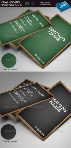 Chalkboard business card  #GraphicRiver         Chalkboard business card:  - 2 colors variations: black chalkboard & green chalkboard - 2×3.5 inches - 300 dpi - CMYK  - Bleed and Guides - Font: Chalkdust font  Download free font here: font.cc/1221-chalkdust.ttf.html - PSD File included      Created: 10March12 GraphicsFilesIncluded: PhotoshopPSD Layered: Yes MinimumAdobeCSVersion: CS3 PrintDimensions: 2.5x3.5 Tags: blackboard #board #businesscard #chalk #chalkboard #dust #dusty #greenboard…