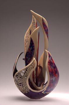 """Purple Mist"" - Floral Forms by Joey Richardson. Glass Ceramic, Ceramic Pottery, Pottery Art, Ceramic Art, Modern Sculpture, Abstract Sculpture, Wood Sculpture, Vasos Vintage, Arte Steampunk"