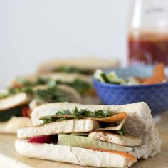 Slices of marinated tofu crunchy veggies fresh chillies plenty of coriander and spicy sauce served in a delicious crusty baguette. Thai Dipping Sauce, Spicy Sauce, Beef Back Ribs, Beef Ribs, Wrap Recipes, Pork Recipes, Vegetarian Recipes, Vietnamese Salad Rolls, Pork Noodles