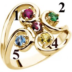 Flowing Five Stone Mothers Ring in 14kt Gold*
