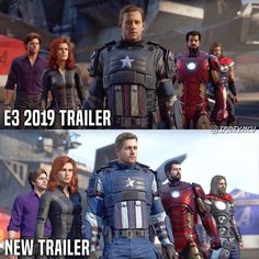 NGL I didn't hate the original trailer looks but I think the new ones look a lot better. Marvel Avengers Games, Avengers Earth's Mightiest Heroes, Avengers Characters, Marvel Dc Comics, Captain Marvel, Funny Avengers, The Originals Trailer, Marvel Costumes, American Comics