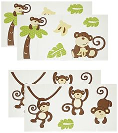 CoCo and Company Monkey Time Removable Wall Appliques (Discontinued by Manufacturer) * More info could be found at the image url. (This is an affiliate link and I receive a commission for the sales)