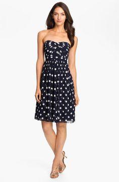 Jenny YOO Navy White Strapless Polka DOT Convertible Chiffon Dress - Bridesmaids Dress?