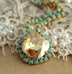 Crystal turquoise and Champagne Swarovski necklace,Bridal necklace, wedding jewelry,bridesmaid jewelry - Plated 14 k gold