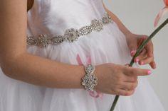 OLIVIA, Flower Girl Sash, Rhinestone Beaded Sash,  Crystal Belt, Wedding Sash, Rhinestone Sash
