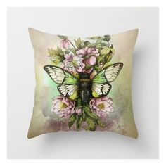 Cicada [the Last Summer Chant]] Throw Pillow (£15) ❤ liked on Polyvore featuring home, home decor, throw pillows and animal throw pillows