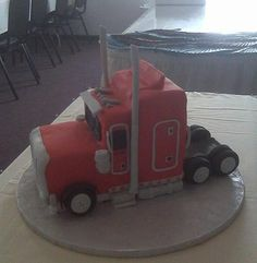 Wedding Cake With Big Rig Topper