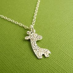 Mini Giraffe Necklace, Fine Silver Flowered Giraffe, Sterling Silver Chain, Made To Order