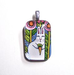 Garden Bunny Easter Rabbit Glass Pendant by SusanFayePetProjects on Etsy, $14.00