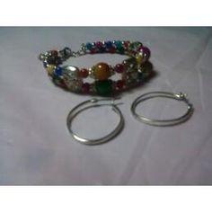 Silver Multi-color Glass & Floral Sante Fe Bracelet & Silver Oval Hoops Earrings Set  $12.99