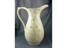 Belleek Shamrock Pitcher – 5.5″ x 9″    This is one of the rare Belleek Shamrock collectibles that you can never find easily! Get this amazing ceramic decorative art for only $165.00! See our website for possible discounts! You won't find this nowadays!