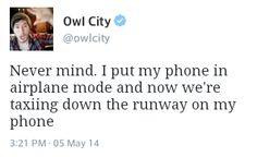 owlcitytweets:  Airplane adventures