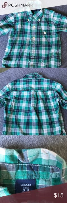Like NEW! Cotton L sleeve button down plaid shirt Adorable dress shirt. Worn once.  💯 cotton and super easy to care for- unlike my other position of Burberry shirt.  Great w navy or khaki pants or shorts.  Great for pictures.  Smoke free pet free home. GAP Shirts & Tops Button Down Shirts