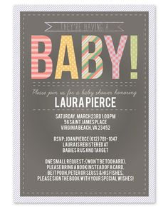 Chalkboard Baby Invitations - wish it had different colors