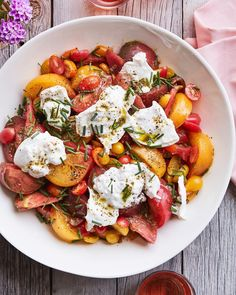 Marinated tomatoes with burrata and an Herby Vin recipe from What's Gaby Cookin