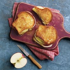 Grilled Apple and Cheddar Sandwiches | MyRecipes.com Upgrade your grilled cheese sandwich by adding a mustard spread and sliced apples.