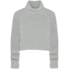 T by Alexander Wang Chunky-knit cotton-blend sweater (2,040 MXN) ❤ liked on Polyvore featuring tops, sweaters, shirts, jumpers, light gray, slim sweaters, shirt top, cotton blend shirts, slim shirt and rollneck sweaters