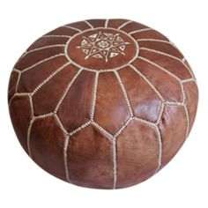 Moroccan Leather Pouf - Various Colors