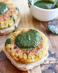 Bean burgers with grilled corn + pesto