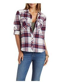 Button-Up Plaid Flannel Top with Pockets