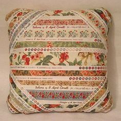 Selvage Pillow made with Moda fabric selvedges