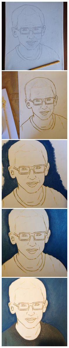 Vanmorgen aan mijn eerste portret begonnen, ben nu al blij met het resultaat alleen ... nu proberen hem NIET alsnog te verpesten!