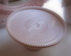 Pink milk glass cake plate by Jeanette...love this!