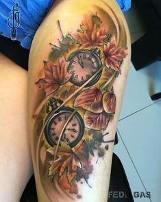 @stixistattoosupplies  @fkirons  @radiantcolorsink  @revolutionneedles  @vegantattoo  #fedegastattoo #fedegas #clock #clocktattoo #oton #colorstattoos by fede_gas_tattoo