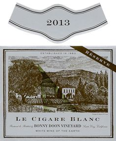 2013 Le Cigare Blanc Réserve (en bonbonne) | Label Art by Chuck House | We continue to learn more about the mysteries of élevage in glass demijohn. This wine has many of the qualities that one has come to love in white Burgundy – a lush, creamy texture, a haunting suggestion of the skin of pear (or is it quince?), as well as absolutely formidable length on the palate. #bonnydoonvineyard #wine #lecigareblanc #reserve #roussanne #grenacheblanc #picpoul White Burgundy, Wine Labels, White Wine, Lush, Pear, Vineyard, Texture, Learning, Barrels