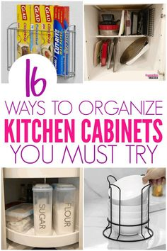 Ways to organize your kitchen cabinets and keep your kitchen organized. Try these tips to organize your kitchen. There are so many ways to Organize Kitchen Cabinets. These brilliant hacks will help you organize your kitchen and keep it that way! Kitchen Pantry Cabinets, Kitchen Cabinet Organization, Home Organization Hacks, Ikea Kitchen, Kitchen Shelves, Organizing Your Home, Kitchen Hacks, Kitchen Furniture, Kitchen Decor