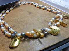 Double Strand and MultiColored Freshwater Pearl Necklace by CaliforniaWildPoppy on Etsy