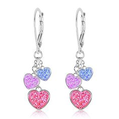 Kids Earrings - White Gold Tone Hearts Multi Color Crystal Earrings with Silver Leverbacks Baby, Girls, Children *** Learn more @ http://www.amazon.com/gp/product/B01BJYYFG0/?tag=splendidjewelry07-20&pmn=170716103539