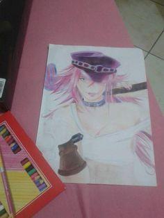 Meu desenho do Poison em andamento... lápis de cor faber castell sobre sulfite