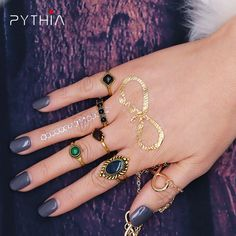 Pythia New Vintage Punk Ring Set Women Boho Beach Silver Plated Turquoise Gem Knuckle Open Midi Ring Jewelry