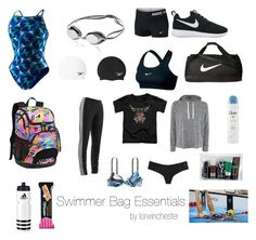"""""""swimmer bag essentials"""" by lorwinchester on Polyvore featuring moda, Speedo, NIKE, Dove, adidas, Topshop, V76 by Vaughn e Victoria's Secret PINK"""