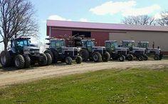 White Tractor, Lineup, Tractors, Monster Trucks, Yellow, Green