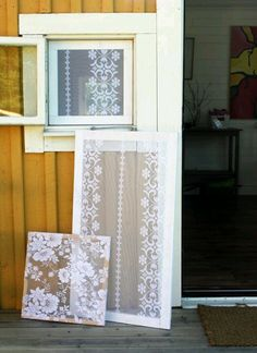 Screens for screen doors: what a great idea! Screens and curtains in one. Would need to be washable. Velcro?