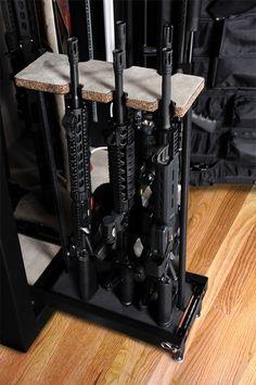 Pull out drawer - racks for long guns in safe - sweet Ammo Storage, Weapon Storage, Hidden Storage, Reloading Room, Gun Vault, Hidden Gun, Gun Rooms, Gun Cases, Home Defense