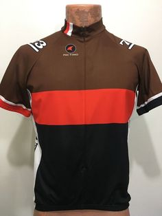 Pactimo Mens L Brown Orange Black Short-Sleeve Bike Jersey 3 4 Zip Cycle  Smithy 8c093dc5e